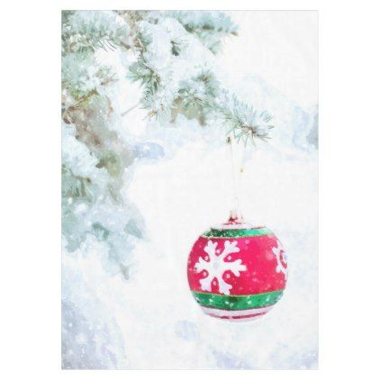 Christmas red ornament pine white snow classic tablecloth - kitchen gifts diy ideas decor special unique individual customized