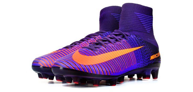 Botas de fútbol Nike Mercurial Superfly V AG-PRO - Púrpura Dynasty / Naranja Bright Citrus - perspectiva conjunto
