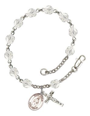 St. Odilia Silver-Plated Rosary Bracelet with 6mm Crystal Fire Polished beads