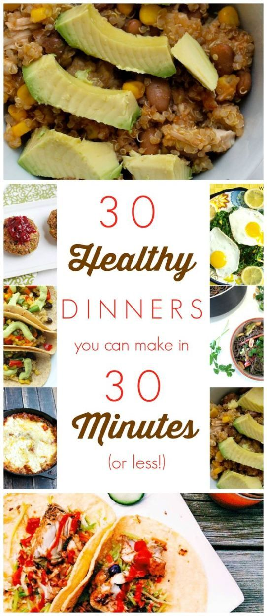 Here are 30 healthy dinner recipes that you can make in 30 minutes OR LESS!  Don't let being busy keep you from helping your family have healthy meals! These are all clean-eating, healthy dinners that are quick and easy.
