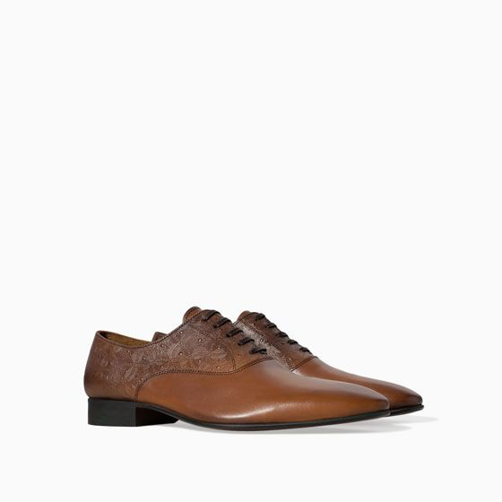 Image 2 of BRUSHED LEATHER OXFORD SHOE from Zara