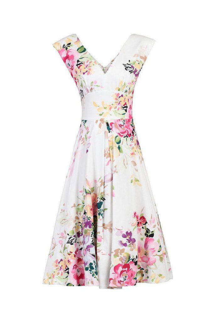 Cream White Floral Print Sleeveless V Neck 50s Swing Flare Dress