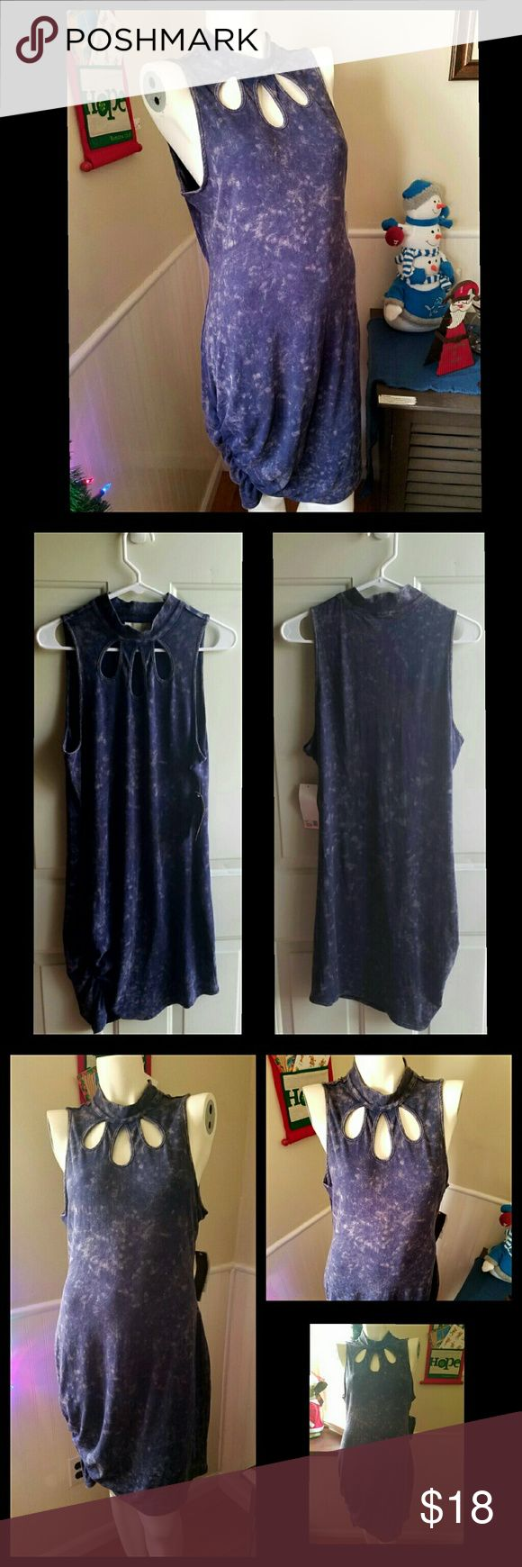 """Nicki Minaj BodyCon Dress NWT. Blue almost like stone wash look. 3 tear detailing at neck. Stretchy material. Has elastic ribbing detailing on the bottom of one side of dress. Size chart in last photo.  Inseam Length 29"""" Shoulder to bottom length 39"""" Nicki Minaj Dresses"""