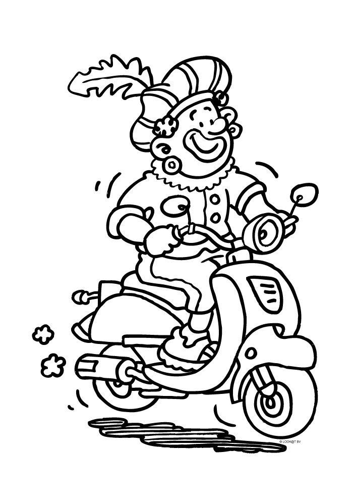 Zwarte Piet op een scooter