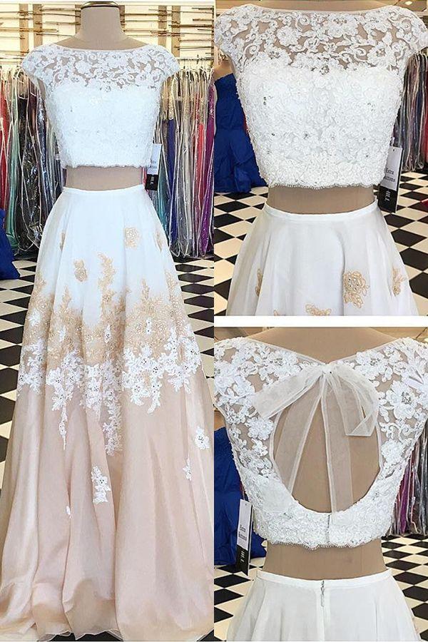 prom dresses, long prom dresses, 2 pieces champagne prom partydresses, cute open back prom dresses with appliques