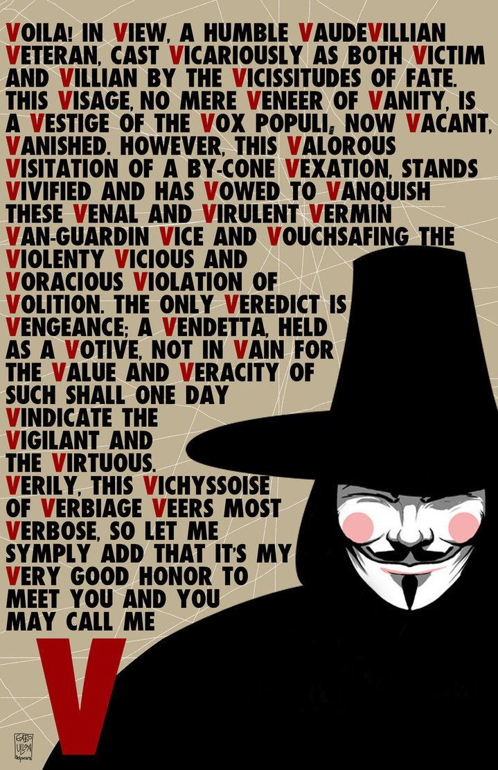 V for vendetta speech poster by Gabo Ulloa.