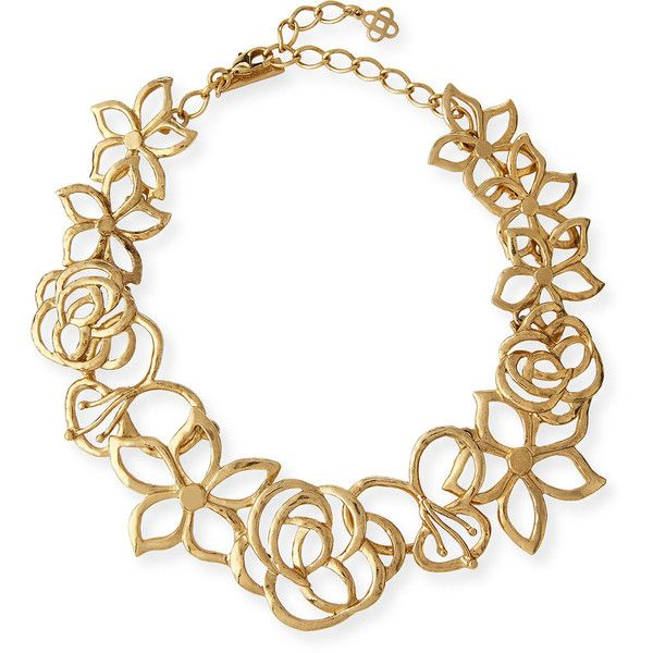 Oscar De La Renta Intertwined Floral Statement Necklace ($550) ❤ liked on Polyvore featuring jewelry, necklaces, gold, jewelry necklaces, oscar de la renta, floral necklace, bib statement necklace, statement necklaces and golden jewelry