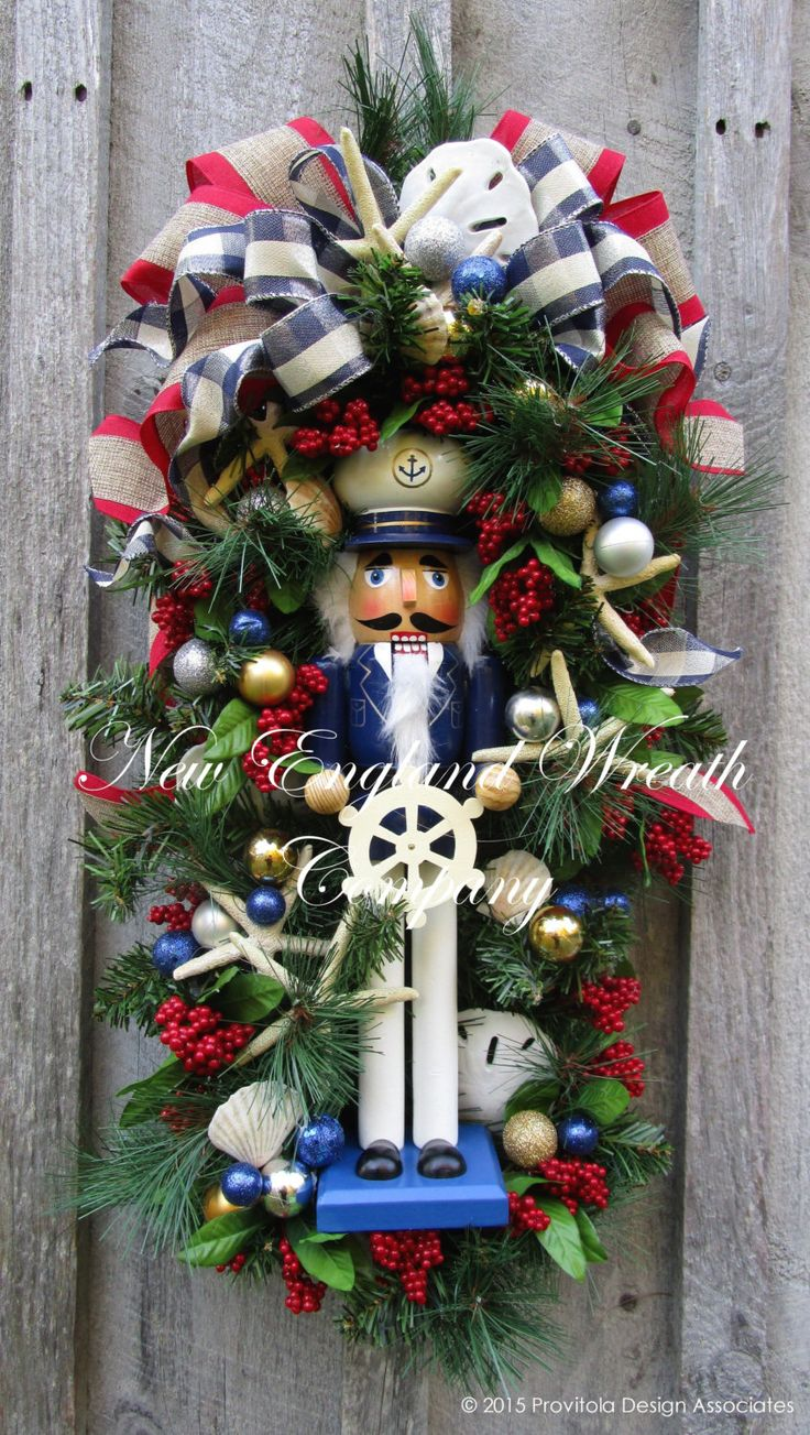 How to make a nutcracker christmas decoration - Christmas Wreath Holiday Swag Nutcracker Nautical Christmas Swag Seashell Christmas Wreath Coastal Holiday Whimsical Christmas Decor