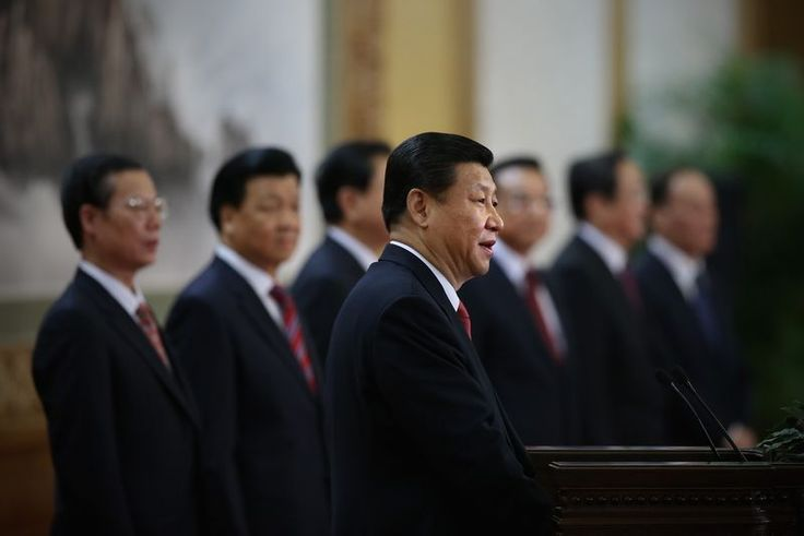 Xi Jinping and other members of the Politburo Standing Committee meet in 2012 (Feng Li/Getty)