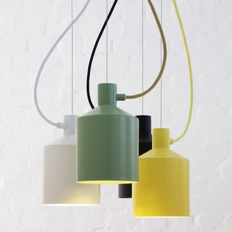 The latest lighting products from Zero include the Silo hanging lamp (above) by Stockholm's Note Design Studio, which was inspired by the tapered shape of a grain silo and comes in white, black, yellow and green.