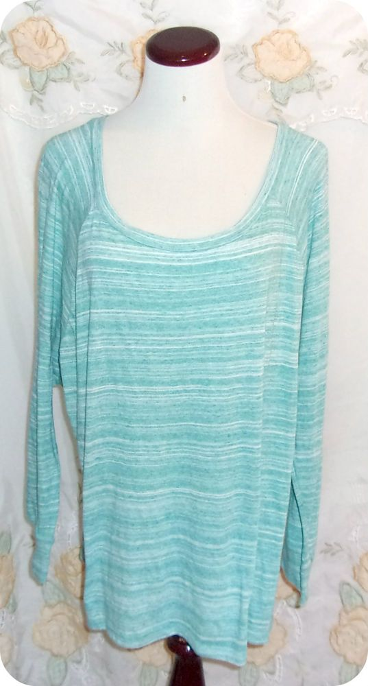 Old Navy Womens Top Size Extra Large Green White Striped Long Sleeve Cotton  #OldNavy #KnitTop #CareerCasual #Fashion #Clothing #Womens #SizeXL