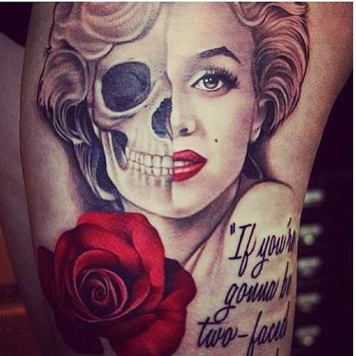 Two faced woman quotes quotesgram for Marilyn monroe skull tattoos