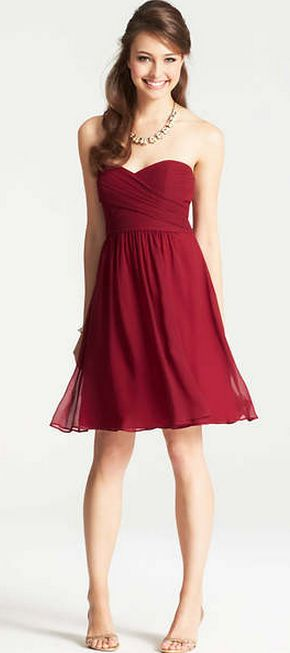 Cranberry sweetheart style dress by Ann Taylor #bridesmaid