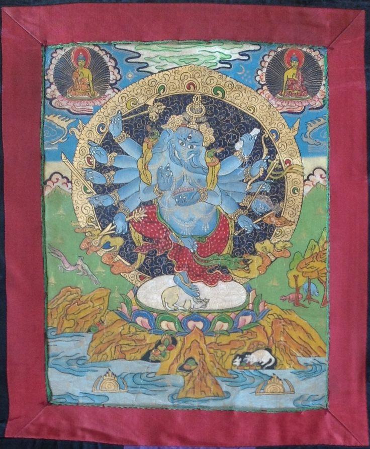 Ganesha Mandala Thanka Art Tibetan Brocade Scroll Wall Decor Thangka Painting