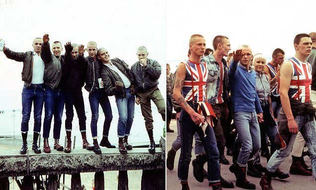 These intimate photographs show the skinheads taking over Southend-on-Sea in Essex during a Bank Holiday Monday, with the large group dominating the main street and the beach.