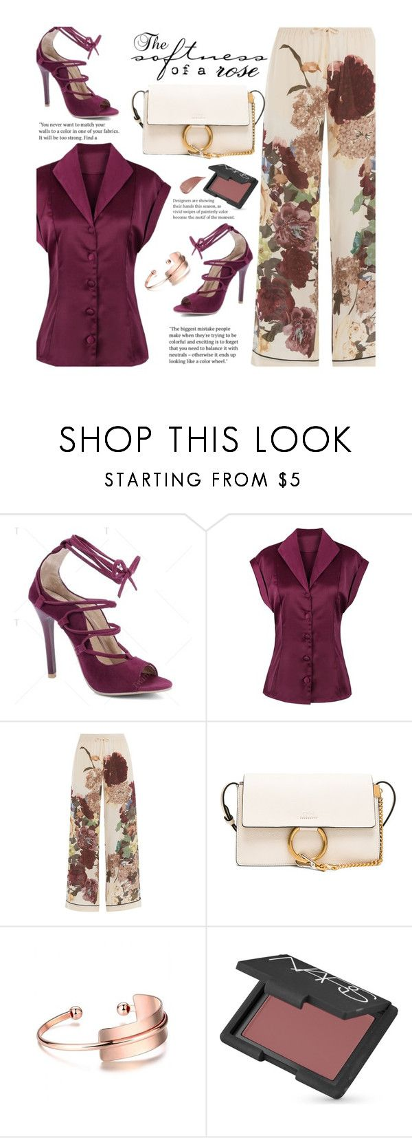 """Happy Hour"" by beebeely-look ❤ liked on Polyvore featuring Valentino, Chloé, NARS Cosmetics, Kevyn Aucoin, vintage, floralprint, happyhour, StreetChic and twinkledeals"