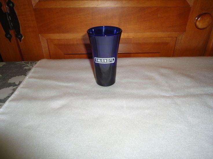 """Smirnoff Cobalt Blue Shot Glass. 3.50"""" Height. 1.50"""" Rim Diameter."""