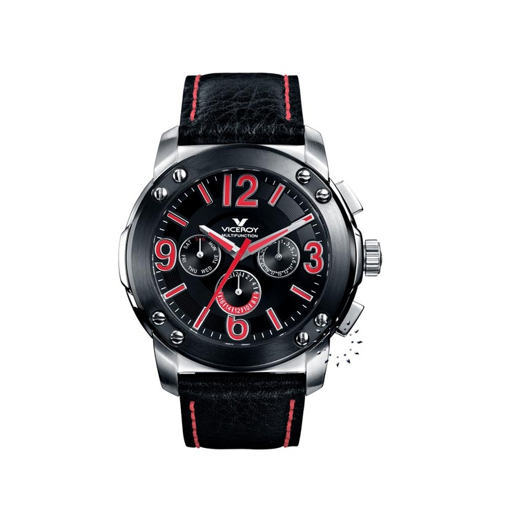 VICEROY Multifunction Black Leather Strap  149€  http://www.oroloi.gr/product_info.php?products_id=26832