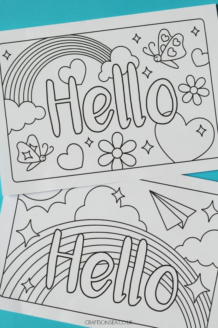 Hello Cards Free Printable Cards For Kids Hello Cards Printable Coloring Cards Free Printable Greeting Cards