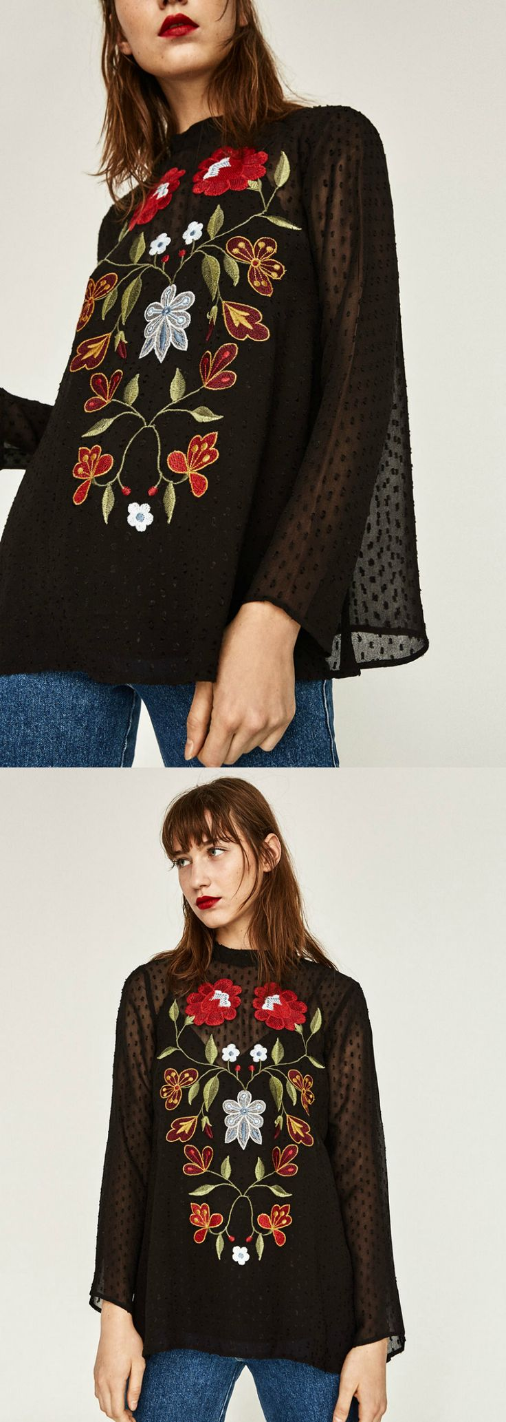 A Floral Embroidery Blouse is now available at $36. This blouse exhibit brilliant colours with unique embroidered flowers.