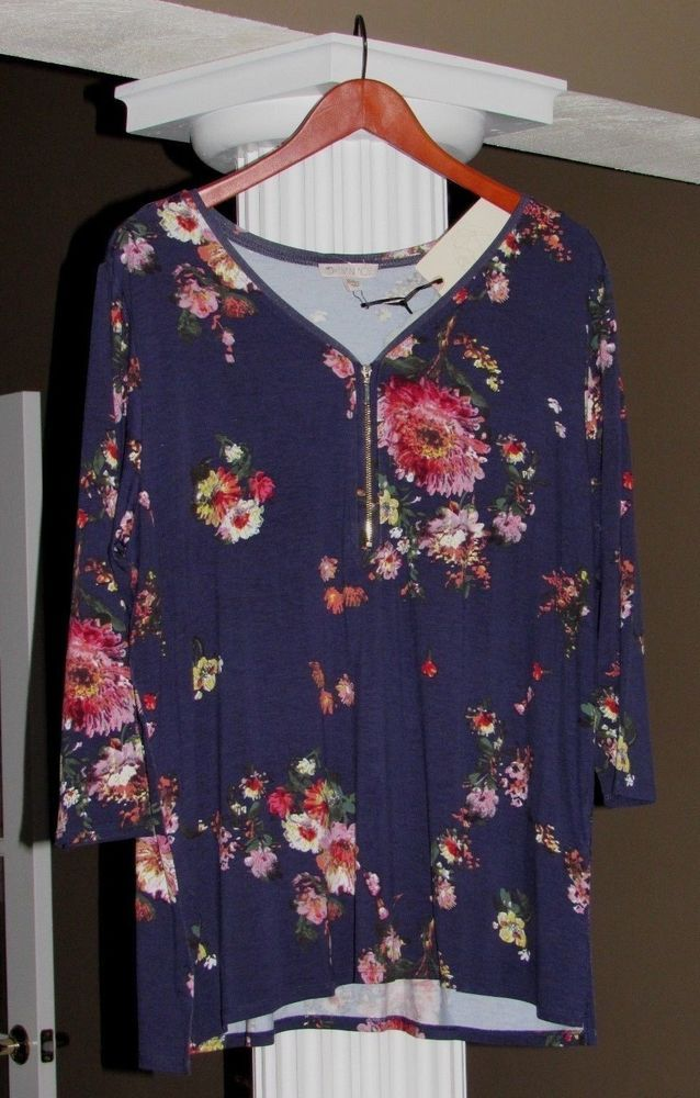 fb18796d4b85 ELIANE ROSE Navy Blue Floral V- Neck 3/4 SLEEVE Tee Shirt Top Size 1X NWT  #fashion #clothing #shoes #accessories #womensclothing #tops (ebay link)