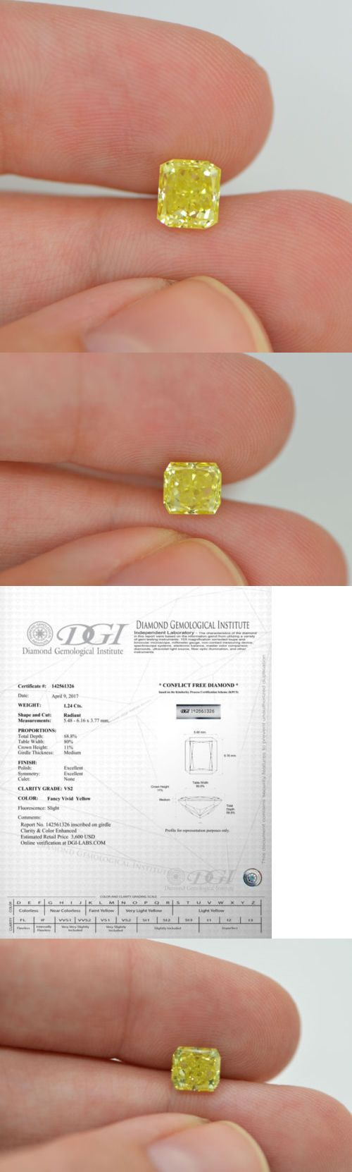 Enhanced Natural Diamonds 152810: 1.24 Carat Radiant Cut Yellow Enhanced Diamond Vs2 Certified For Engagement Ring -> BUY IT NOW ONLY: $1875 on eBay!