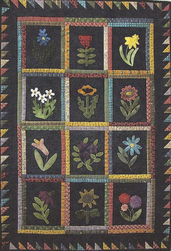 Primitive Folk Art Wool Applique Quilt Pattern  by PrimFolkArtShop, $7.75