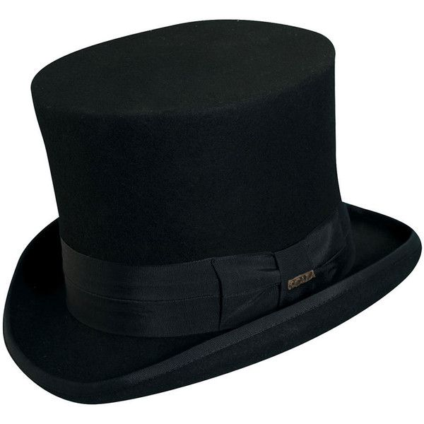 "Scala Classico Men's Felt 7"" Top Hat Black Hats (€76) ❤ liked on Polyvore featuring men's fashion, men's accessories, men's hats, black, mens top hats, scala mens hats, mens formal wear accessories and mens felt hat"