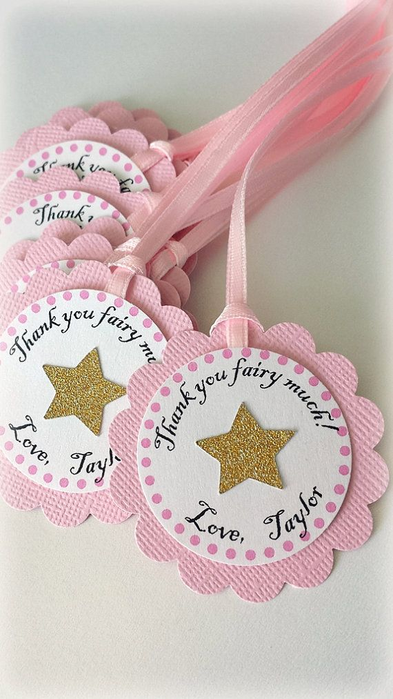 Twinkle twinkle little star birthday, baby shower party favor Thank you tags. PERSONALIZED. Hot pink, gold, glitter. First birthday.