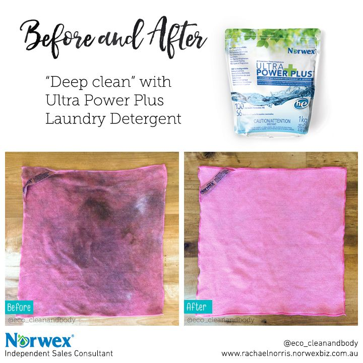 Deep clean your Norwex cloths! Place your Norwex cloths in boiling water + 1 scoop of Norwex Ultra Power Plus Laundry Detergent (currently on special!) and allow to soak for 10 minutes. Rinse with hot water, or machine wash as normal, and hang to dry.