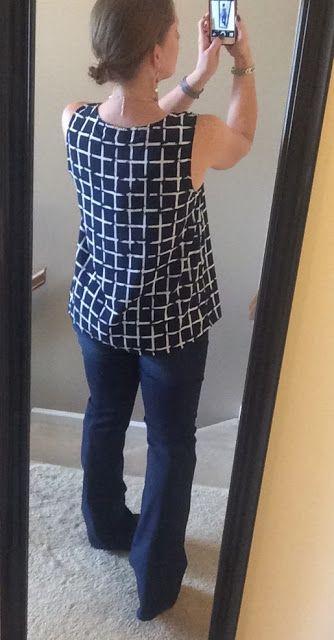 September 2015 Stitch Fix #16 -COLLECTIVE CONCEPTS Salas Split Neck Blouse & DEAR JOHN Marson Wide Leg Denim Trouser (back) - Wandering Lili: My Road Warrior Stories