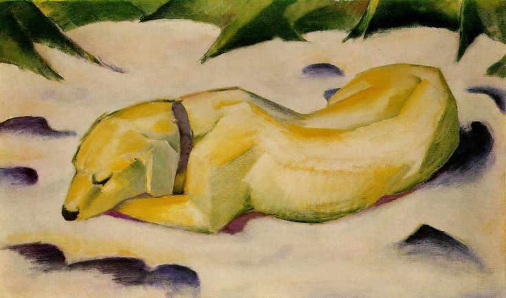 Cão deitado na neve (1910-1911). Franz Marc (1880-1916). Livro: FARTHING, Stephen. This is Art. Londres: Quintessence, 2010.