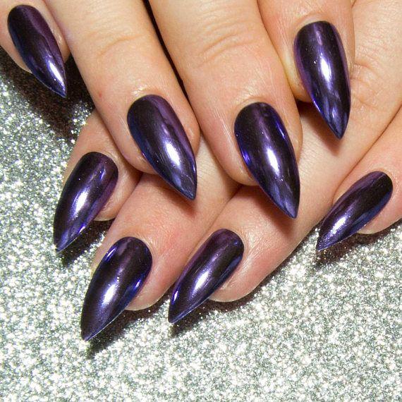 Purple Chrome Nails – Stiletto Fake Nails – Mirror False Nails – Reflective Press On Nails – Pointy Acrylic Nails – Full False Nail Tips