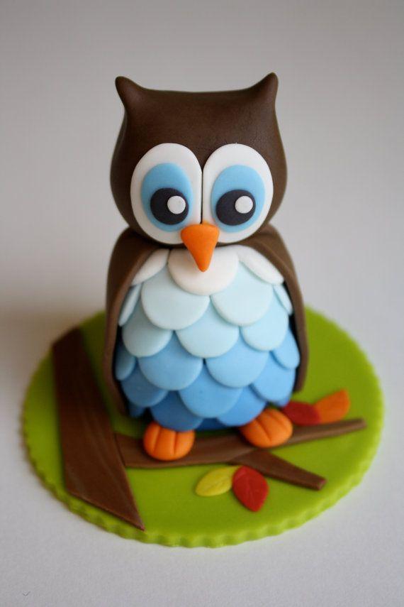 Fondant Girl Owl Cake Cupcake Topper by KimSeeEun on Etsy, $39.95