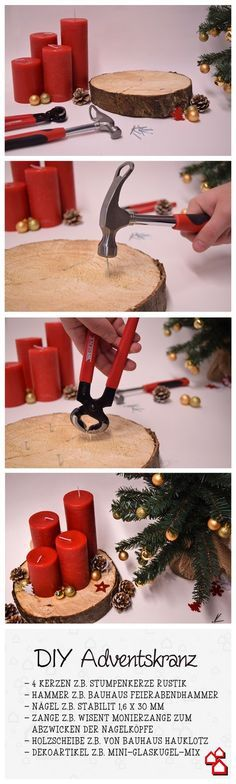Der Adventskranz mal anders - unser DIY für einen Adventskranz ohne lästiges nadeln. ;)