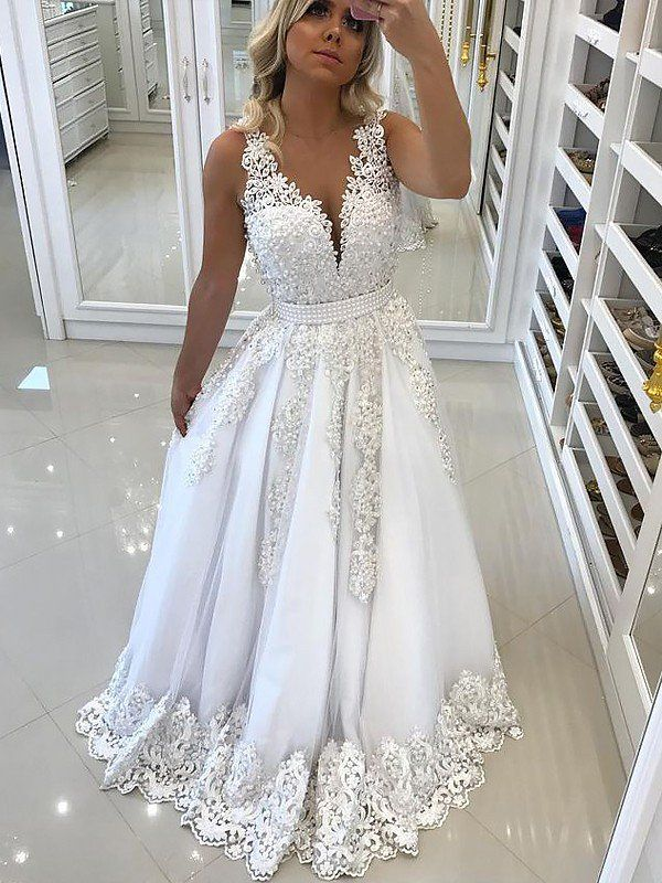 2e18dacdd1c A-Line Princess V-Neck Sleeveless Sweep Brush Train Lace Tulle Dresses -  Prom Dresses - Hebeos Online