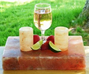 Chill the salt block and use it to cut and serve lime wedges with chilled salt shot glasses of Tequila! The block can also be used for serving chilled freshvegetablesfruits or anything you like. You can also use the salt stone to grill your signature BBQ foods on for added gourmet flavor!