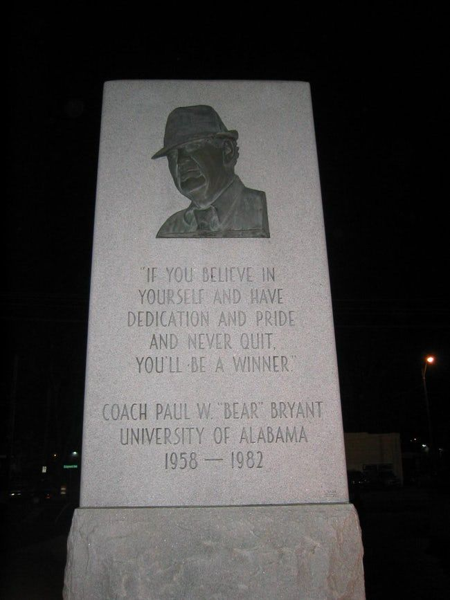 """Famous people buried in Elmwood Cemetery in Memphis • Paul William """"Bear"""" Bryant was an American college football player and coach. He was best known as the longtime head coach of the University of Alabama football team. During his 25-year tenure as Alabama's head coach, he amassed six national championships and thirteen conference championships."""