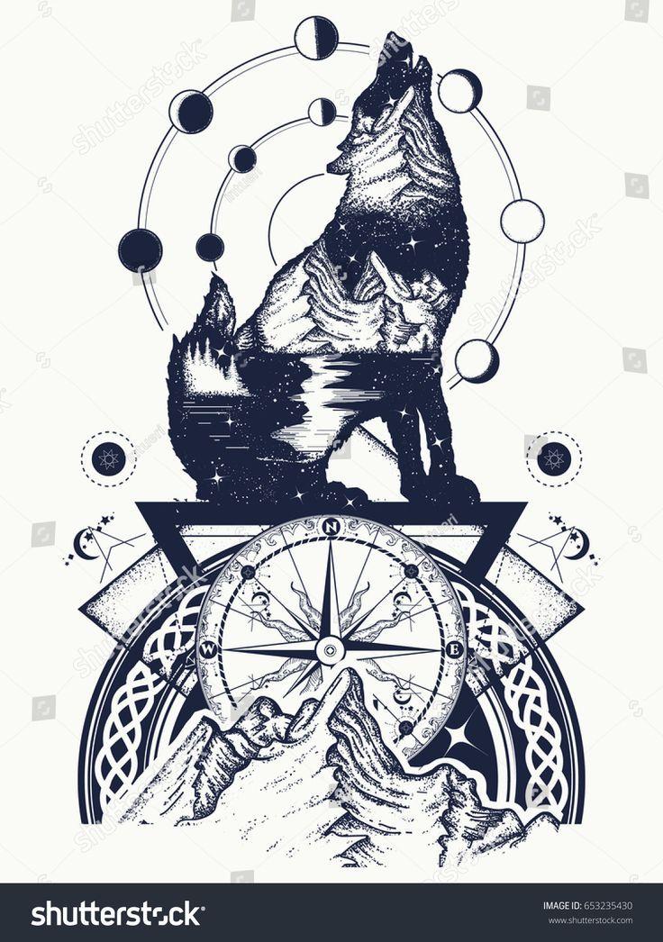 Doppelbelichtungs-Tätowierungskunst des Wolfs und der Berge. Symbol Tourismus, Reisen, Abenteuer … –  #