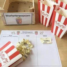 """Eine neue Station für mein Freiarbeitsregal: """"Wortartenpopcorn"""" Ein Popcorn wird gezogen, aufgefaltet, in der Tabelle zugeordnet und aufgeschrieben!"""