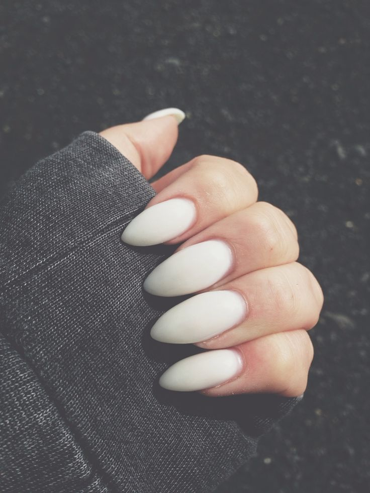 Matte white almond nails.
