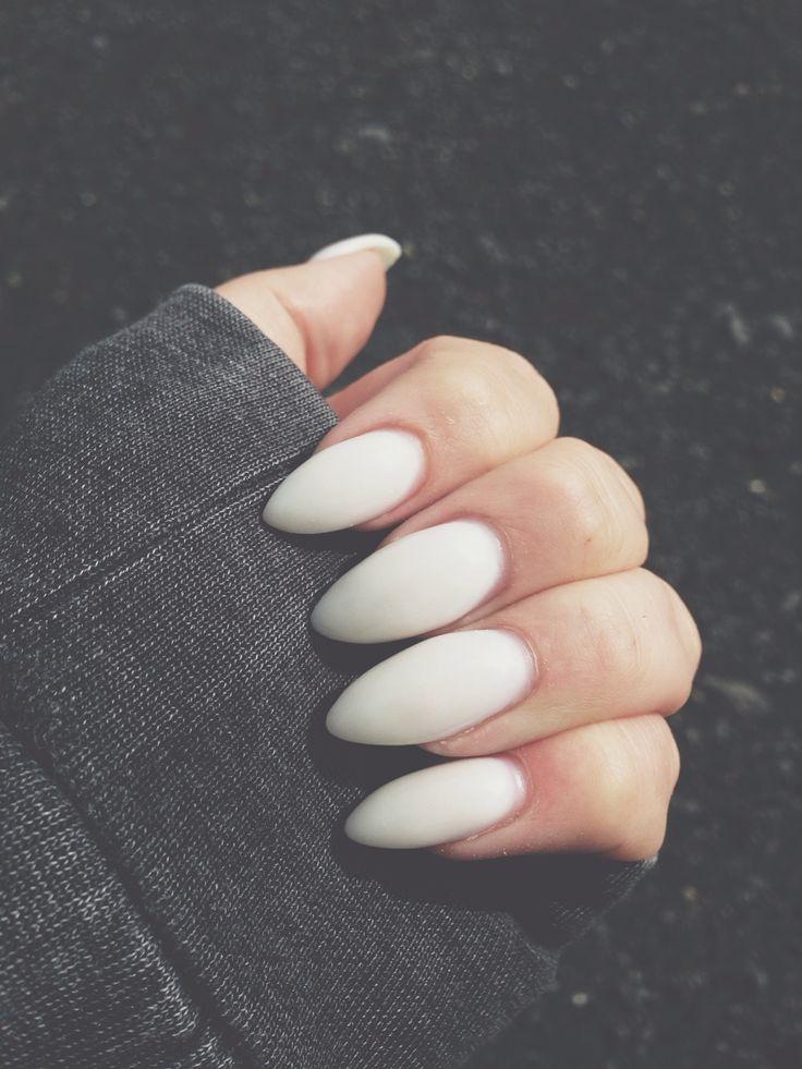 Matte white almond nails.