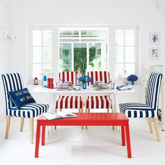 Nautical statement stripes for the dining room. Browse more nautical decor ideas at Completely Coastal: http://www.completely-coastal.com/search/label/Nautical%20Decor%20Ideas  #stripes #diningrooms #nautical
