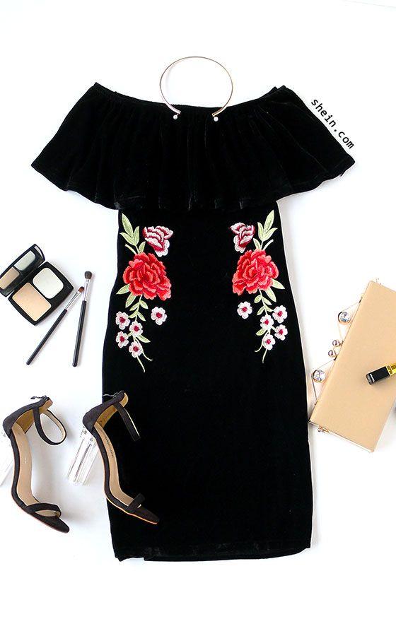 Black Off The Shoulder Flower Embroidered Velvet Dress
