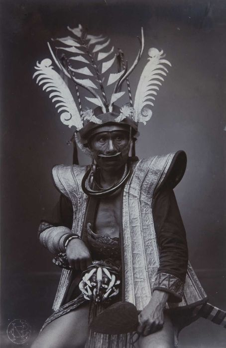 Indonesia - Sumatra, Nias   Studio portrait of a warrior / soldier.  ca. 1892 - 1922    ©Christiaan Benjamin Niewenhuis