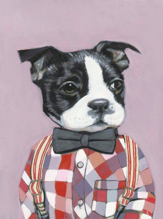 Charlie Matte Print Dogs In Clothes By Heather Mattoon Dog
