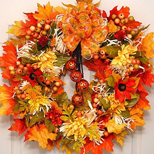 """awesome  Size app. 23"""" x 23"""" Welcome your friends and family this Fall Season with our adorable """"Jack-O-Lantern Jingle Bell Wreath"""". Fall mums, berries, colorful leaves and four hanging jack-o-lantern jingle bells adorn this wreath.   https://www.silkyflowerstore.com/product/fall-jack-o-lantern-jingle-bell-wreath/"""