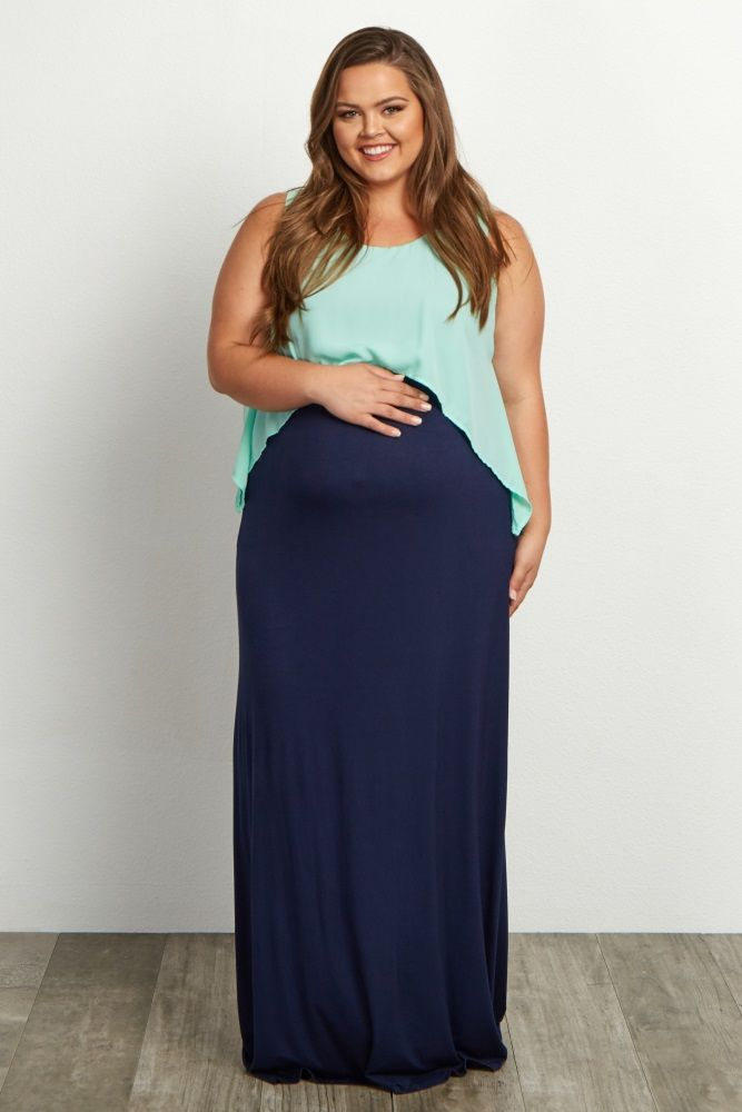 Mint-Green-Overlay-Plus-Size-Maxi-DressThe perfect plus maternity dress to wear from casual occasions to formal events. Show off your bump in style as you dress it up with a statement necklace or keep it simple with your favorite sandals.