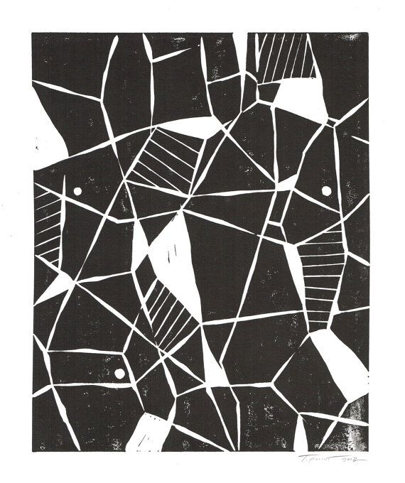 SALE Geometric Abstract Modern Linocut Art Print / 8 by printwork, $25.00