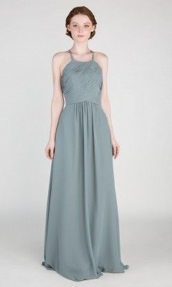 3fe5a940f9f Halter Long Chiffon Bridesmaid Dress with Open Back TBQP417